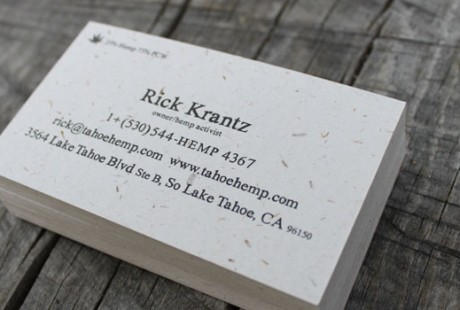hemp one color business cards by Crystal Ricotta