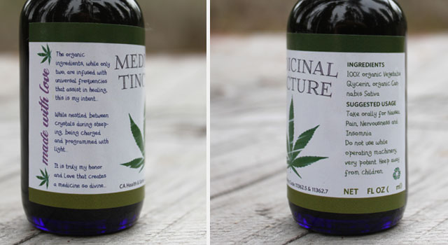 Medicinal Tincture cannabis marijuana label cbd thc design