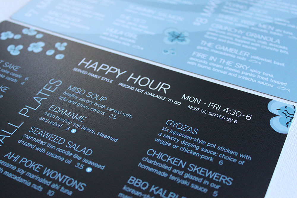 waterproof menu design