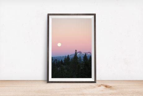 Lake Tahoe full moon over Pyramid Peak nature print digital download by Crystal Ricotta